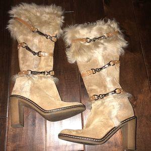 Women's size 6 coach Jessica suede & fur boots